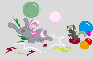 Silver Storm and her daughter Foundation playing with balloons.  Silver Storm is too heavy and strong to balance on hers without breaking it, but Foundation has no trouble.